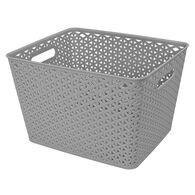 "Home Collections Y-Weave Rectangular Storage Bin, Light Gray, 13.75""L x 11""W x 9""H"