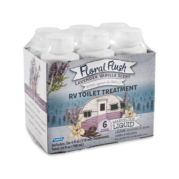 Floral Flush RV Toilet Treatment, Lavender Vanilla, 6-Pack of 4-oz. Bottles
