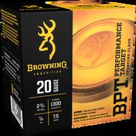 "Browning BPT Performance Target Shotshell Loads, 20-ga., 2-3/4"", 7/8-oz., #7.5"