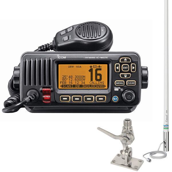 ICOM M324 VHF Marine Radio Package Black, w/5101 Classic 8' Antenna and SS Mount