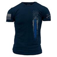 Grunt Style Blue Line Flag Men's T-Shirt