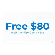 Free $80.00 Merchandise Certificate
