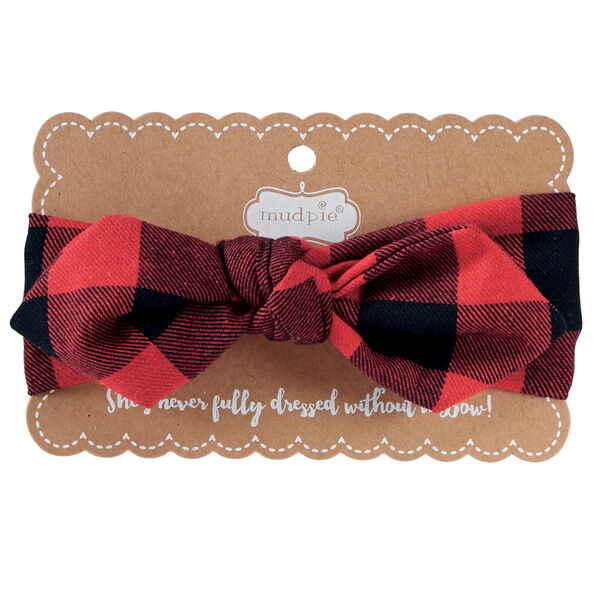 Mud Pie Girls' Buffalo Check Bow Wrap Headband In Red