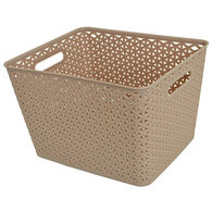 """Home Collections Y-Weave Rectangular Storage Bin, Taupe, 13.75""""L x 11""""W x 9""""H"""