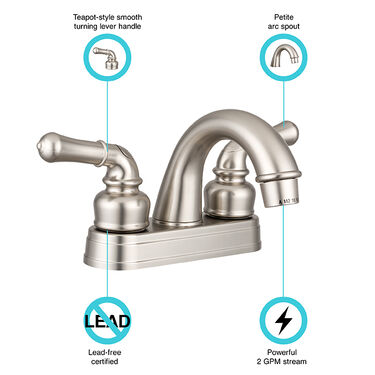Dura Faucet Classical Arc Spout RV Lavatory Faucet, Brushed Satin Nickel