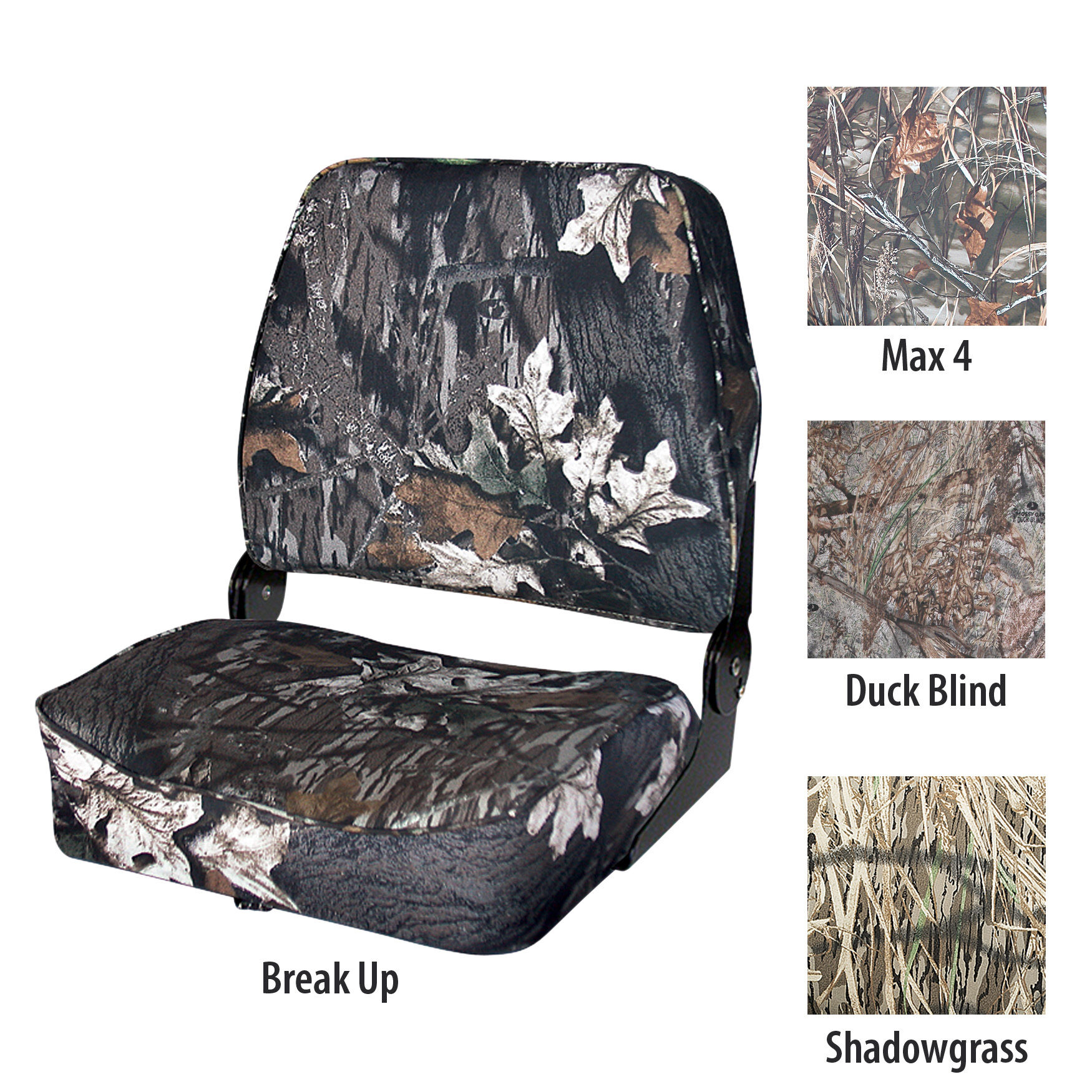 4-Pack Shadow Grass Camo Boat Seats Folding Low Back Duck Hunting Fishing Set