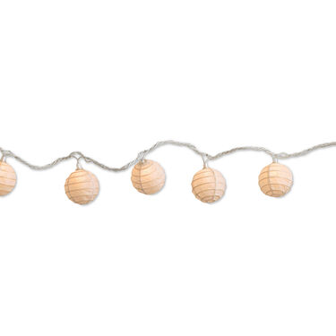 "White Paper Ball String Lights, 10 Mini Lights, 94"" White Cord"