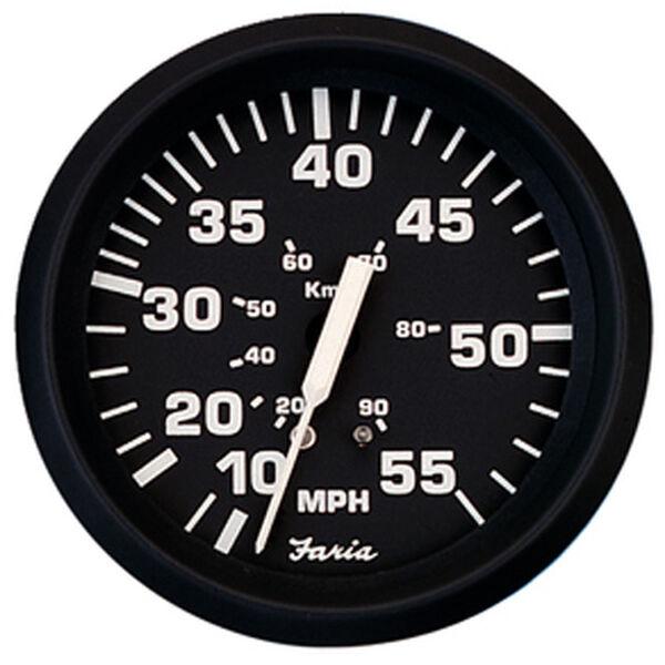 """Faria 4"""" Euro Black Series Speedometer, 35 MPH"""