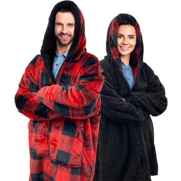 Sherpy Oversized Hoodie Blanket Reversible Sherpa Sweatshirt, Red Buffalo Plaid