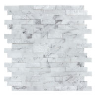"""Peel-and-Stick Mosaic Wall Tile, 12"""" x 12"""", Stacked Carrara"""