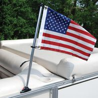 Pontoon Flag Pole Socket with 30'' Pole and U.S. Flag