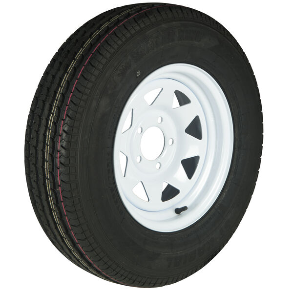 Trailer King II ST215/75 R 14 Radial Trailer Tire, 5-Lug White Spoke Rim