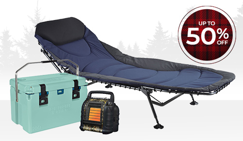 Save up to 50% on camping gear