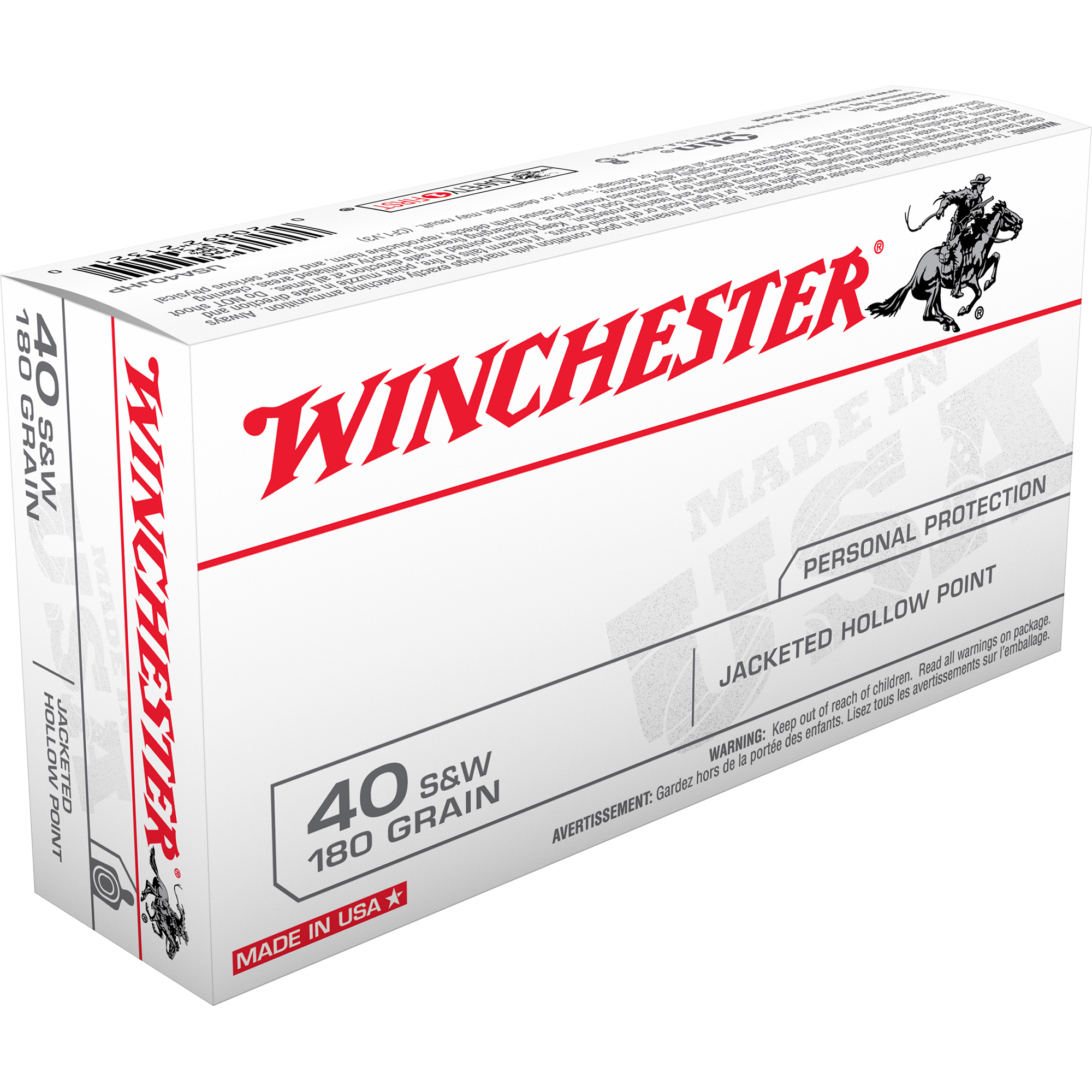 Winchester USA Handgun Ammo, .40 S&W, 180-gr., JHP