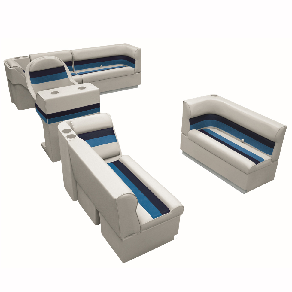 Deluxe Pontoon Furniture w/Toe Kick Base, Complete Boat Package A, Gray/Navy/Blu