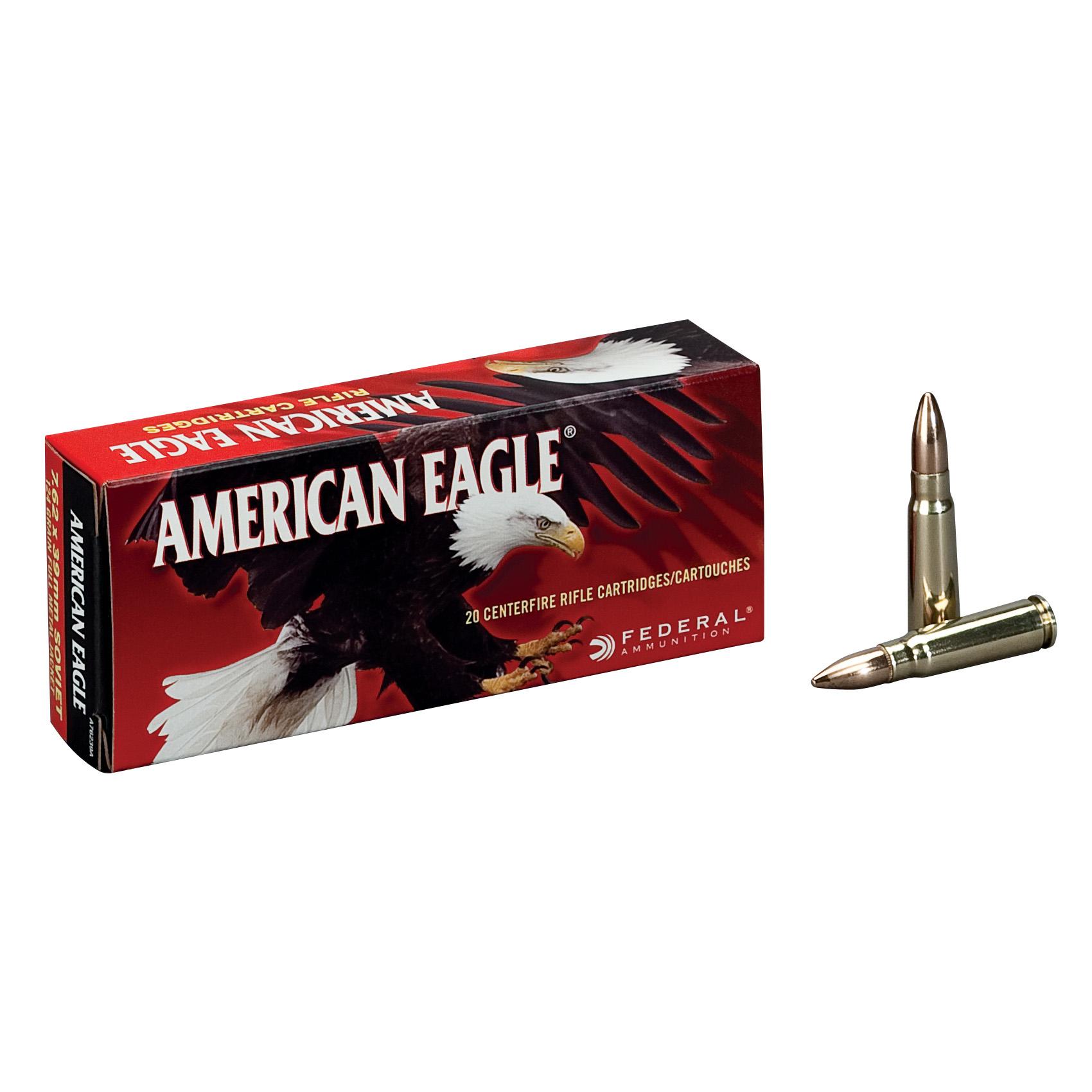 American Eagle Rifle Ammunition, 7.62x39mm, 124-gr, FMJ, 20Rds