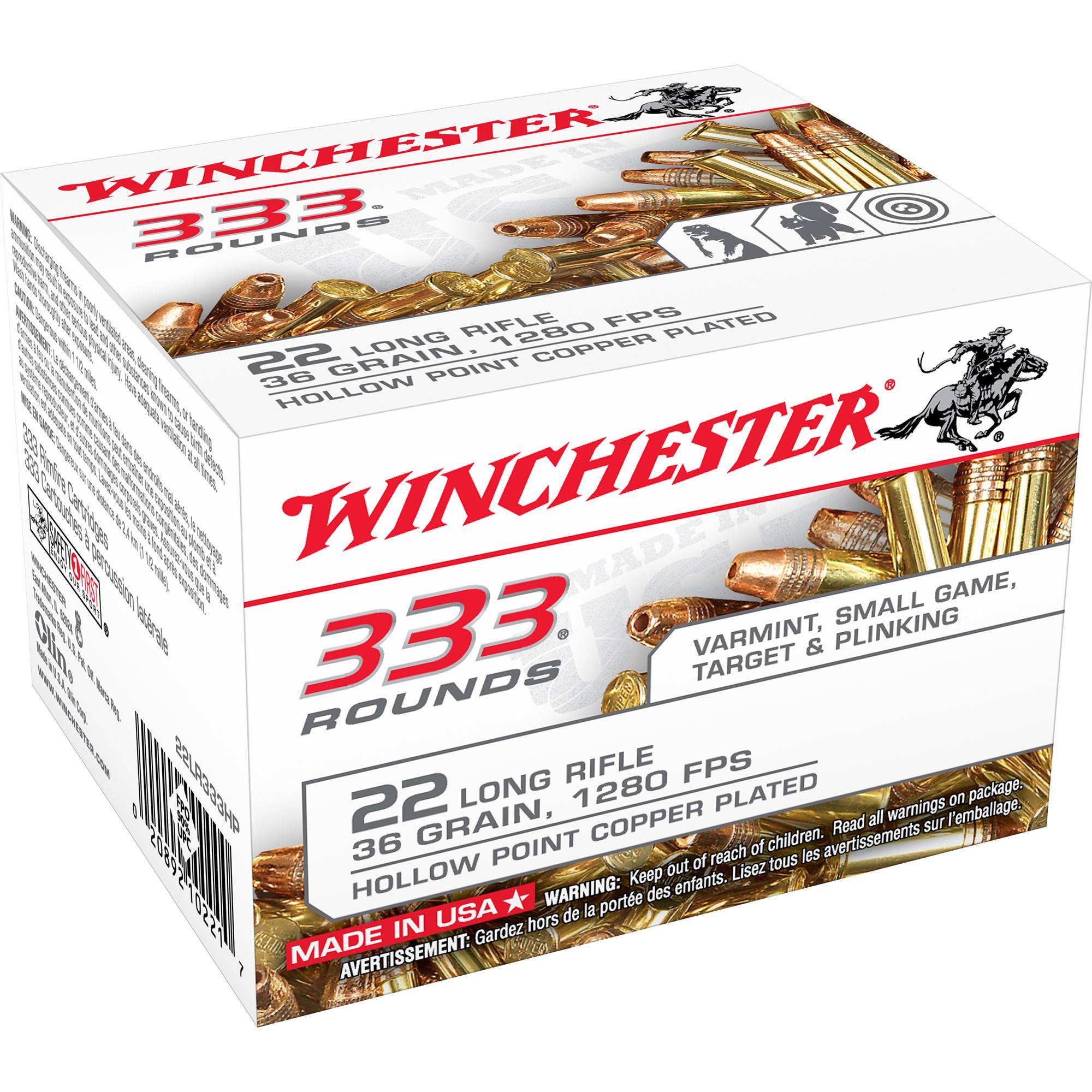 Winchester .22 LR 333 Ammunition Bulk Pack, 36-gr, CPHP