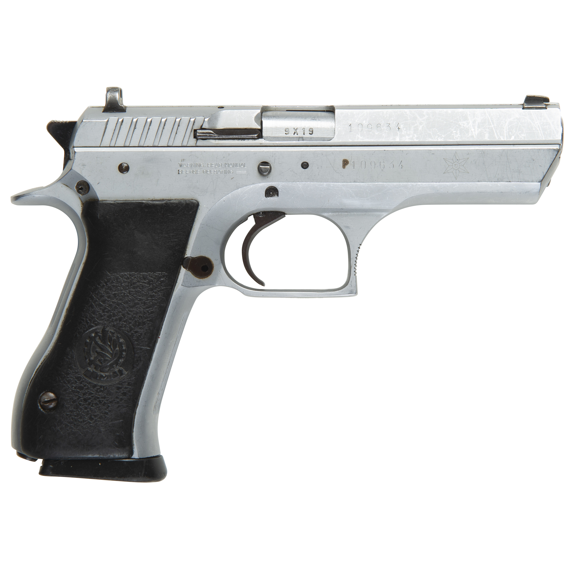 Used Jericho 941F Handgun, 9mm, Brushed Steel w/Police Star Marking