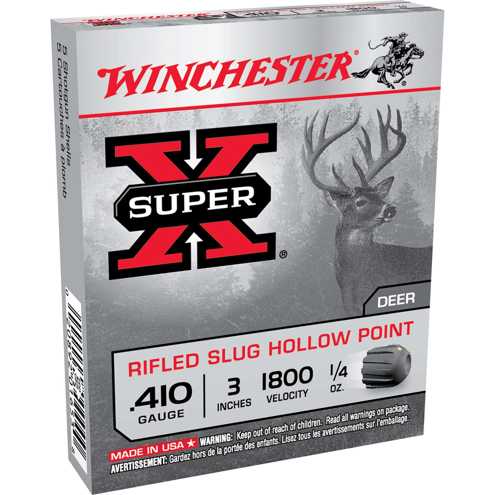 Winchester Super-X Rifled Slug Shotshells, .410 Bore, 3″, 1/4-oz.
