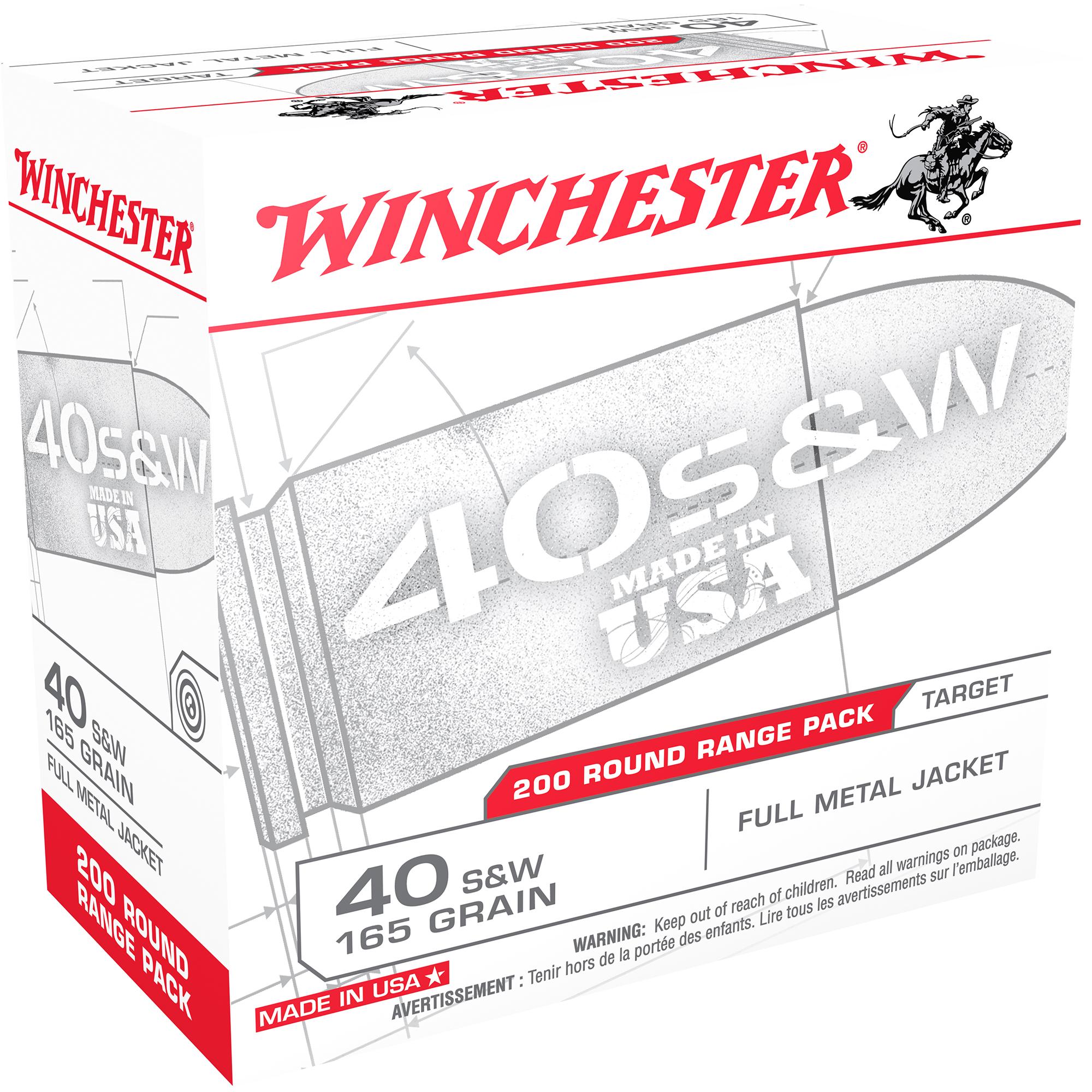 Winchester USA Handgun Ammo Range Pack, .40 S & W, 165-gr, FMJ