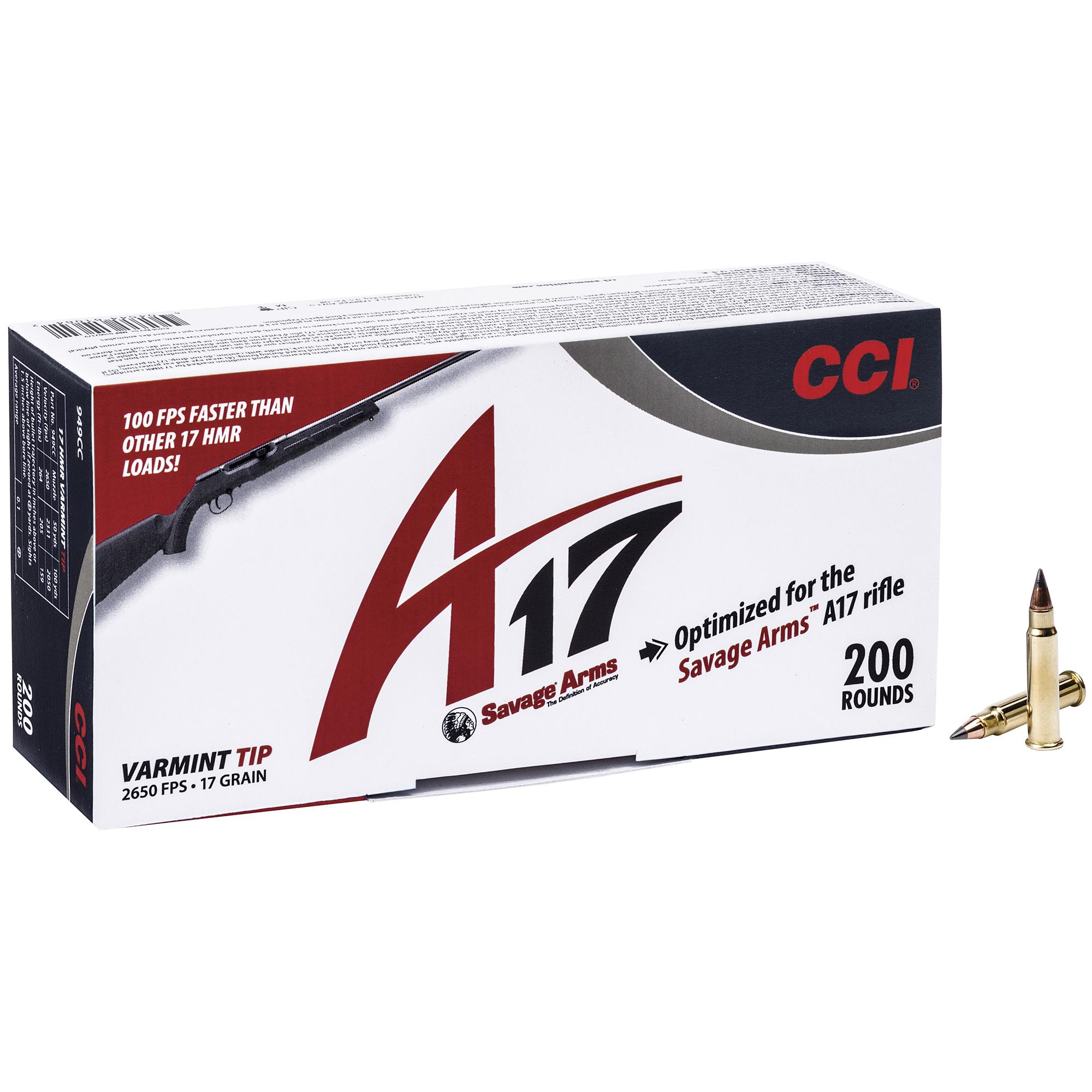 CCI A17 Rimfire Ammo, .17 HMR, 17-gr, VT