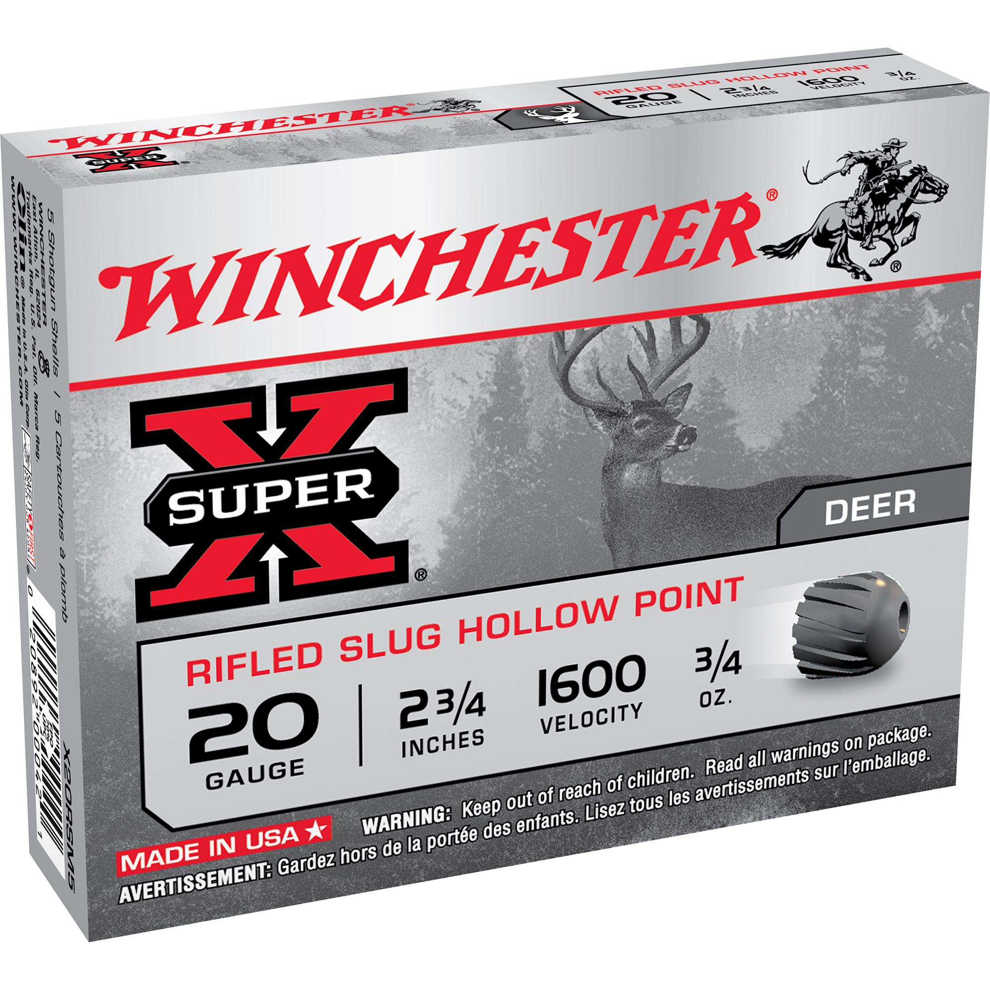 Winchester Super-X Rifled Slug Shotshells, 20-ga, 2-3/4″, 3/4-oz.