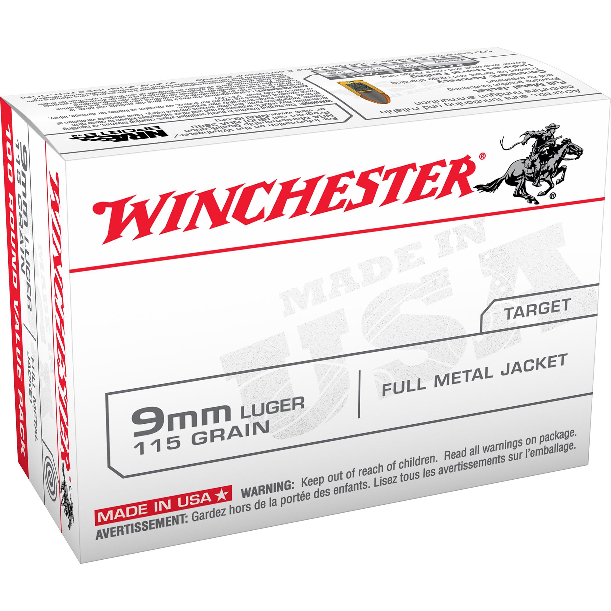 Winchester USA Handgun Ammo, 9mm Luger, 115-gr., FMJ