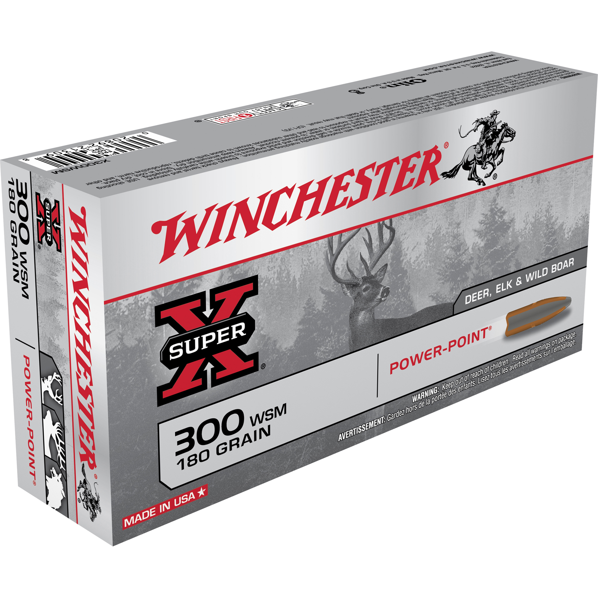 Winchester Super-X Rifle Ammo, .300 WSM, 180-gr, PP