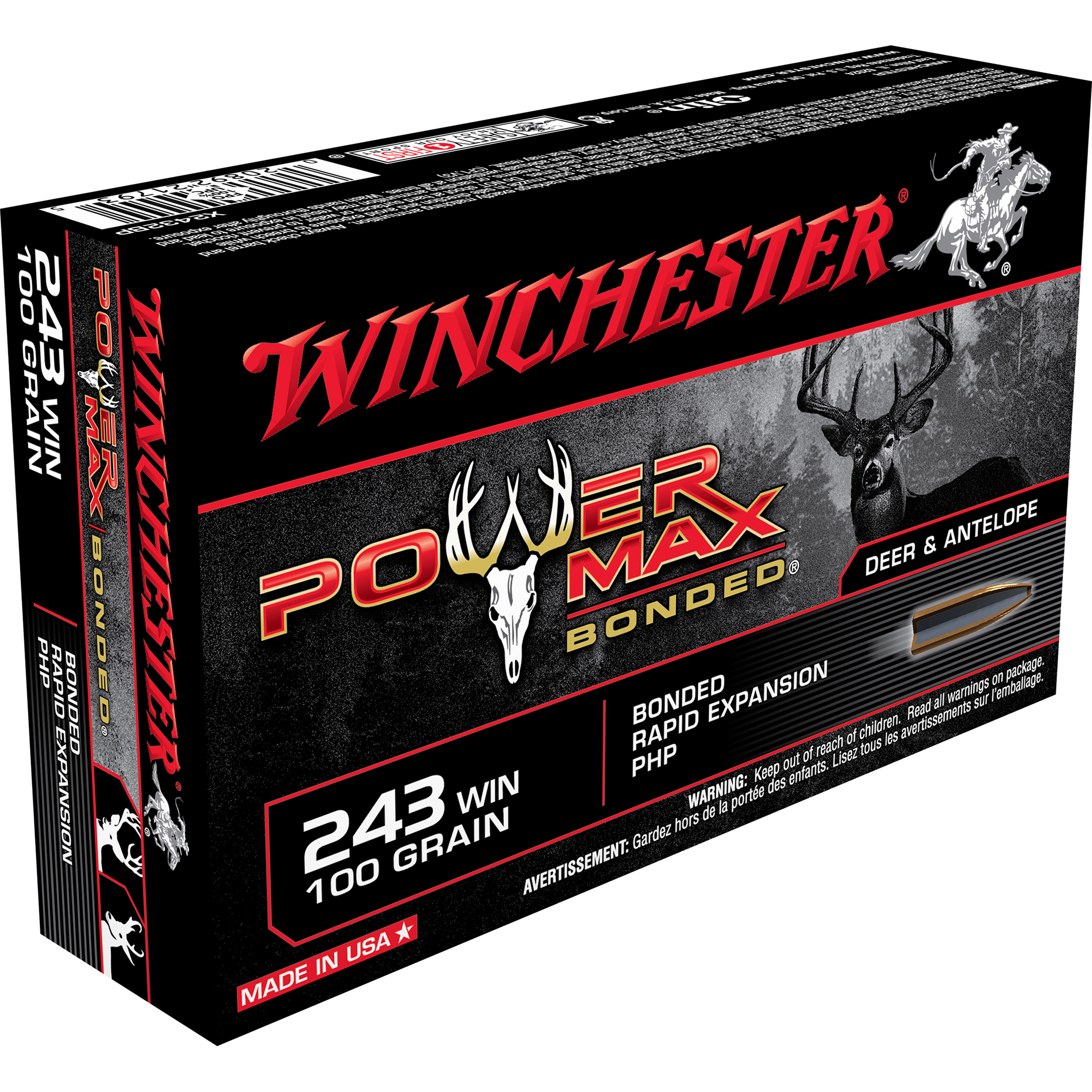 Winchester Super-X Power Max Bonded Rifle Ammo, .243 Win, 100-gr, PHP