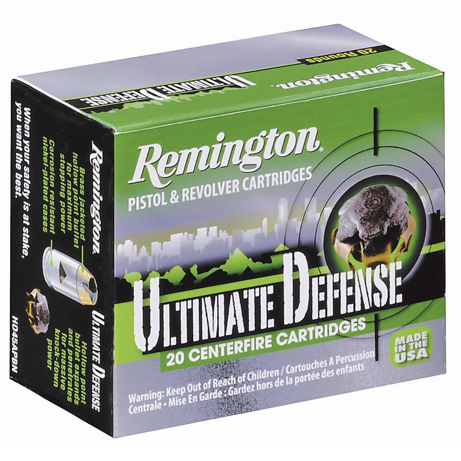 Remington Ultimate Defense Ammo, .45 Auto, 230 Gr, BJHP