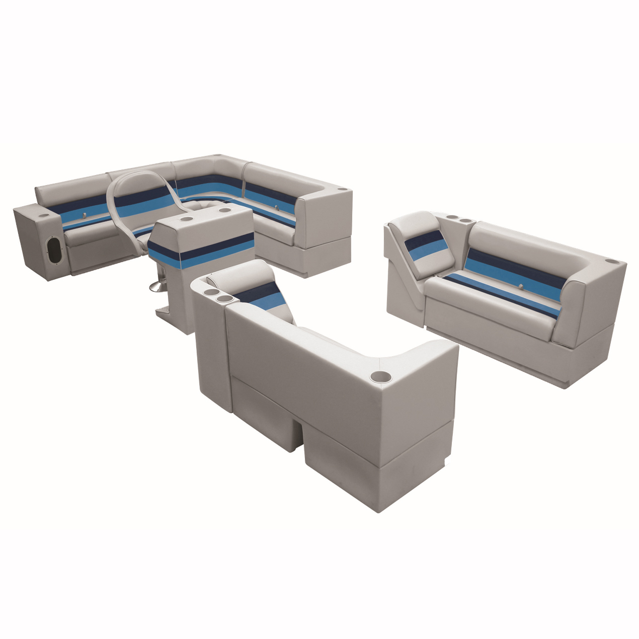 """Deluxe Pontoon Seats w/Toe Kick Base, Big """"L"""" Package Plus Stand, Gray/Navy/Blue"""
