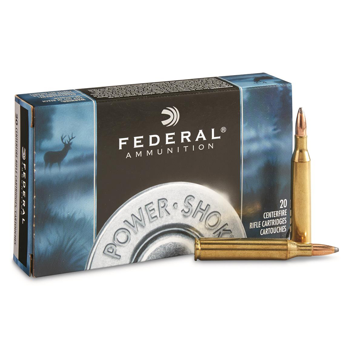 Federal Power-Shok Rifle Ammo, .22-250 Rem, 55-gr, JSP