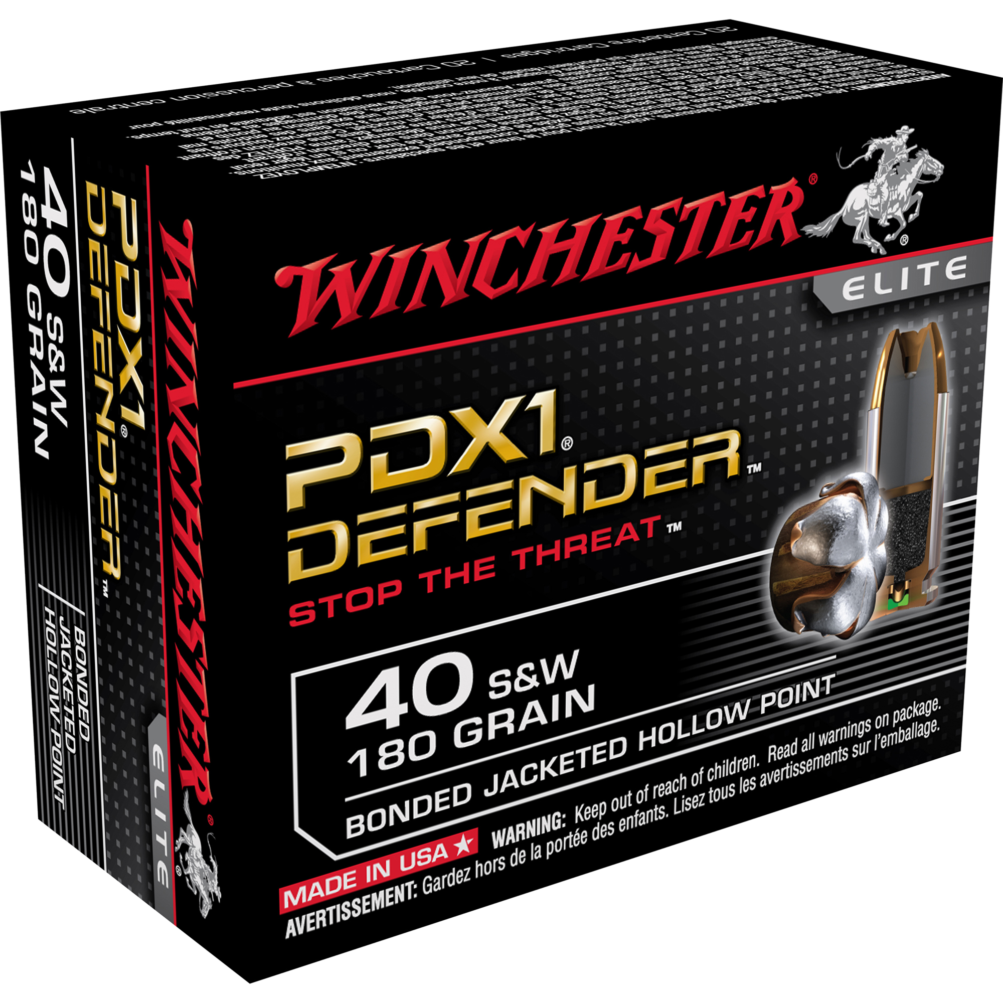Winchester Supreme Elite Bonded PDX1 Ammo, .40 S & W, 180-gr, JHP