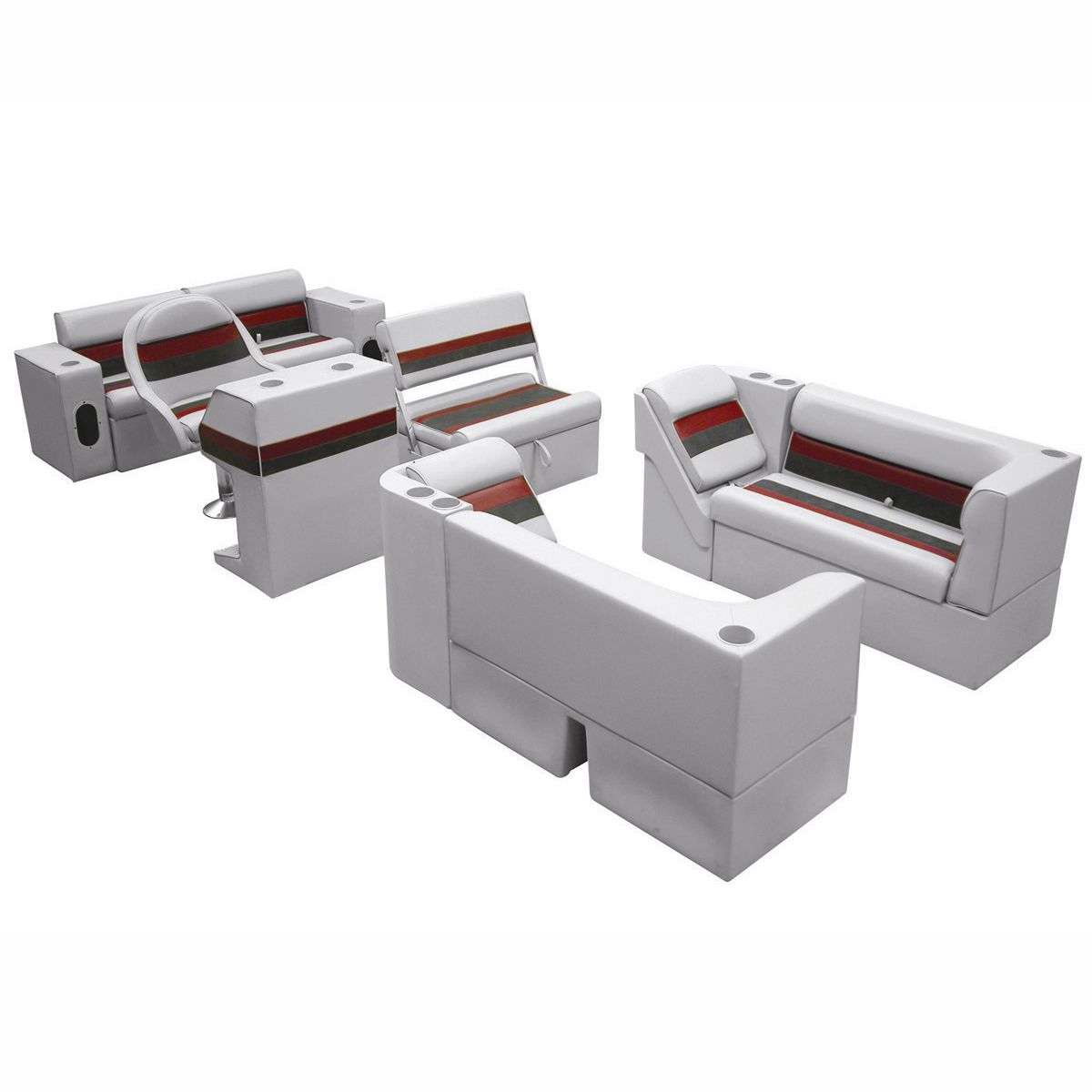 Deluxe Pontoon Furniture w/Classic Base - Complete Boat Package E, Gray/Red/Char