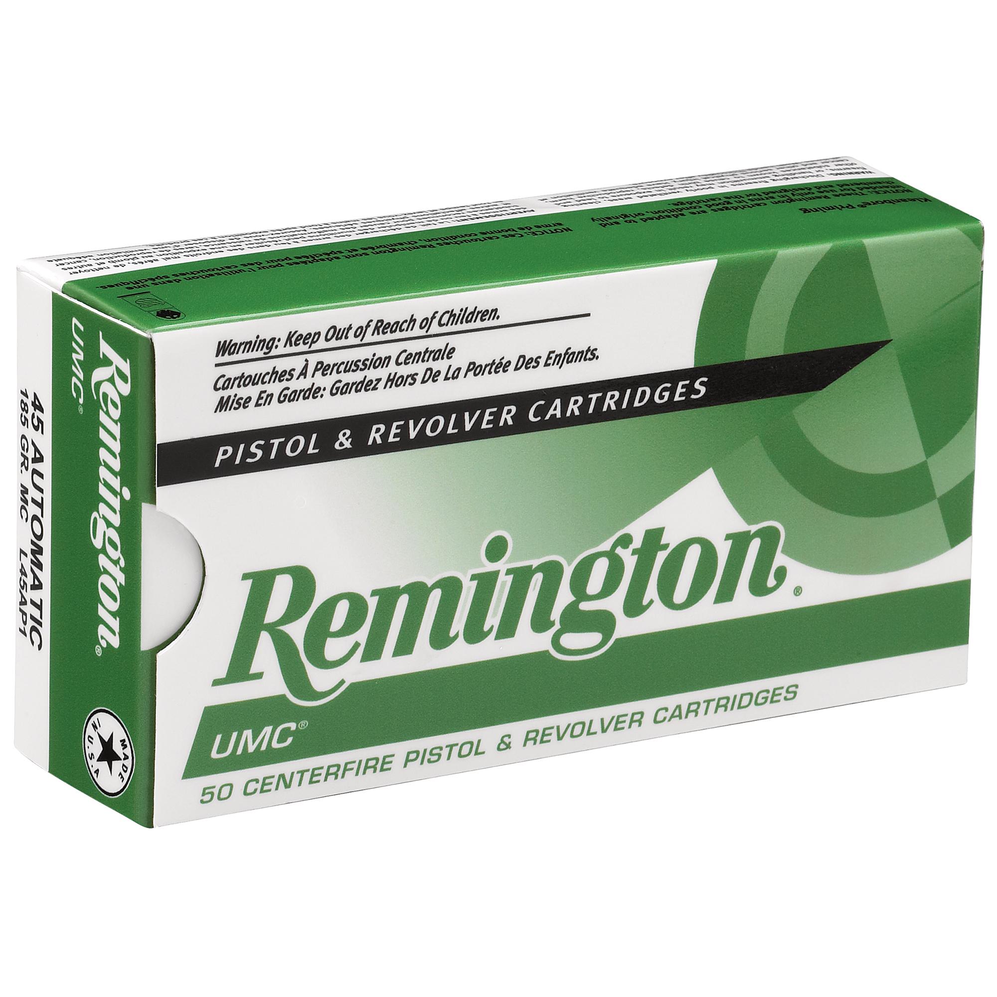 Remington UMC Handgun Ammunition, 9mm Luger, 124-gr, FMJ, 50 Rounds