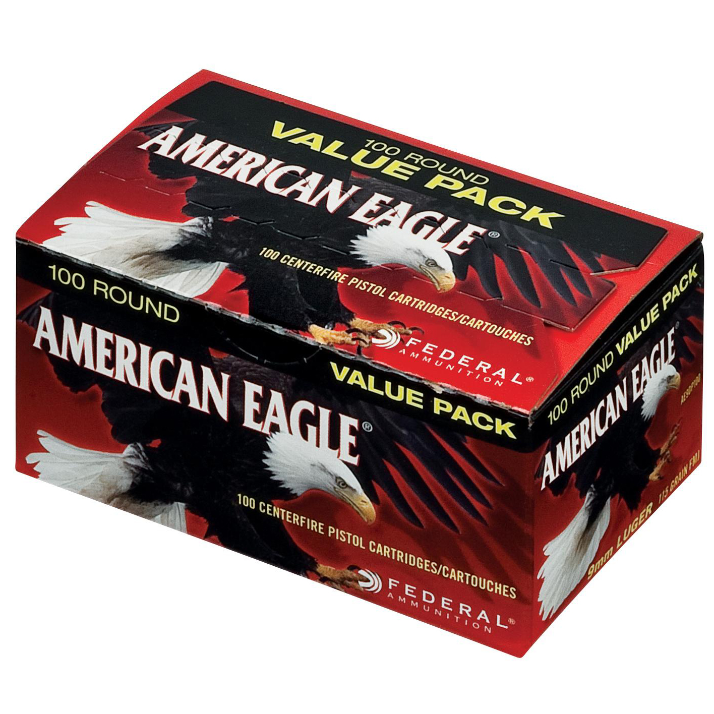 American Eagle Handgun Ammo 100-Round Value Pack, 9mm Luger, 115-gr, FMJ thumbnail