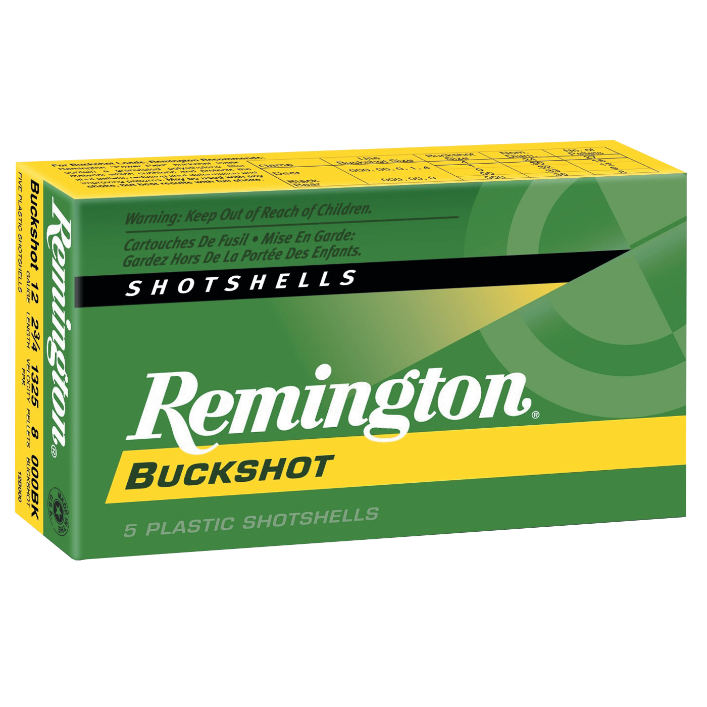 Remington Express Buckshot, 12-ga, 2-3/4″, 9 Pellets, #00, 5 Rounds