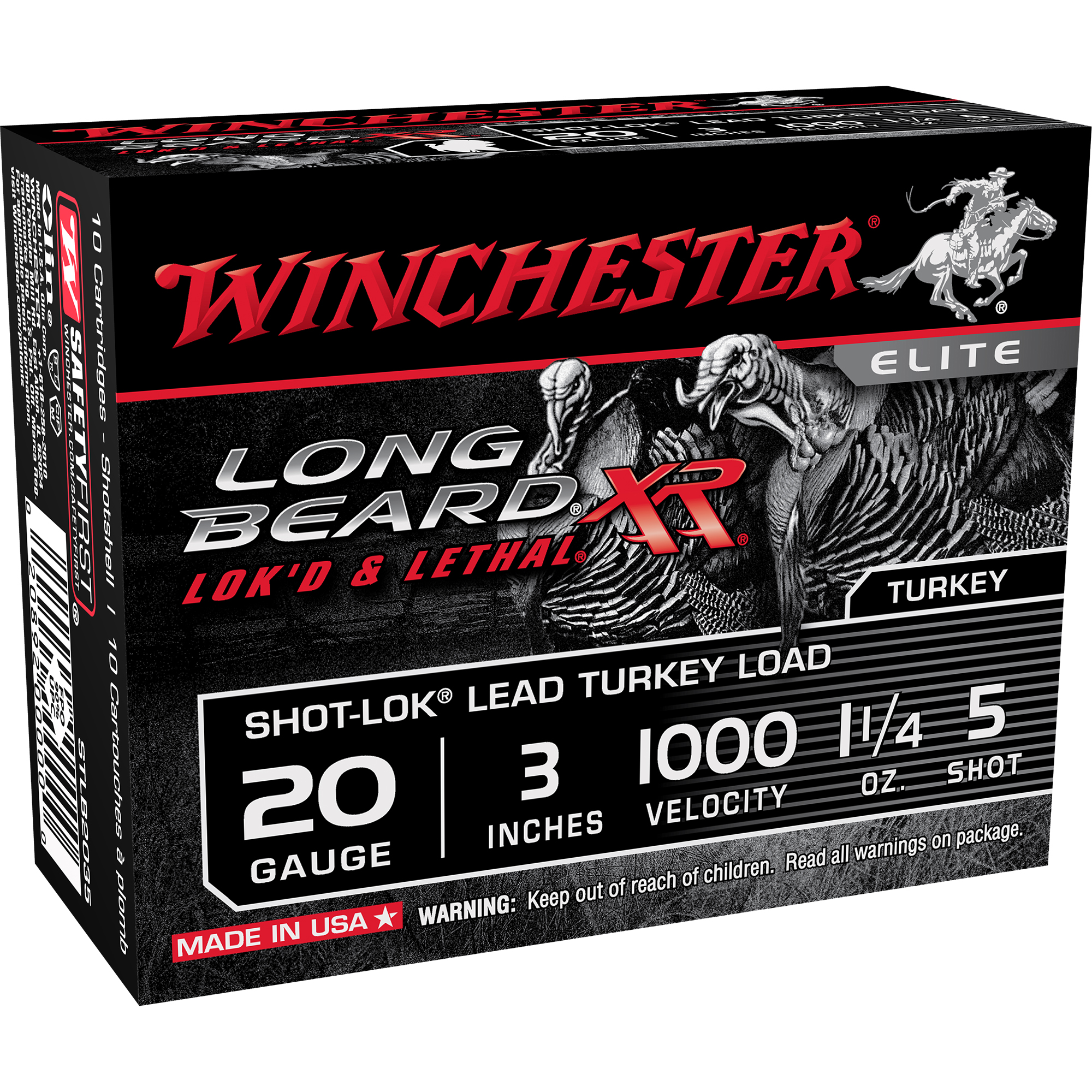 Winchester Long Beard XR Turkey Loads, 20-ga, 3″, 1-1/4 oz, #5