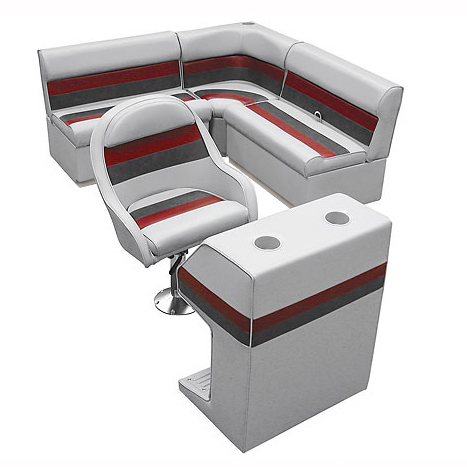 Deluxe Pontoon Furniture with Toe Kick Base - Group 2 Package, Gray/Red/Charcoal