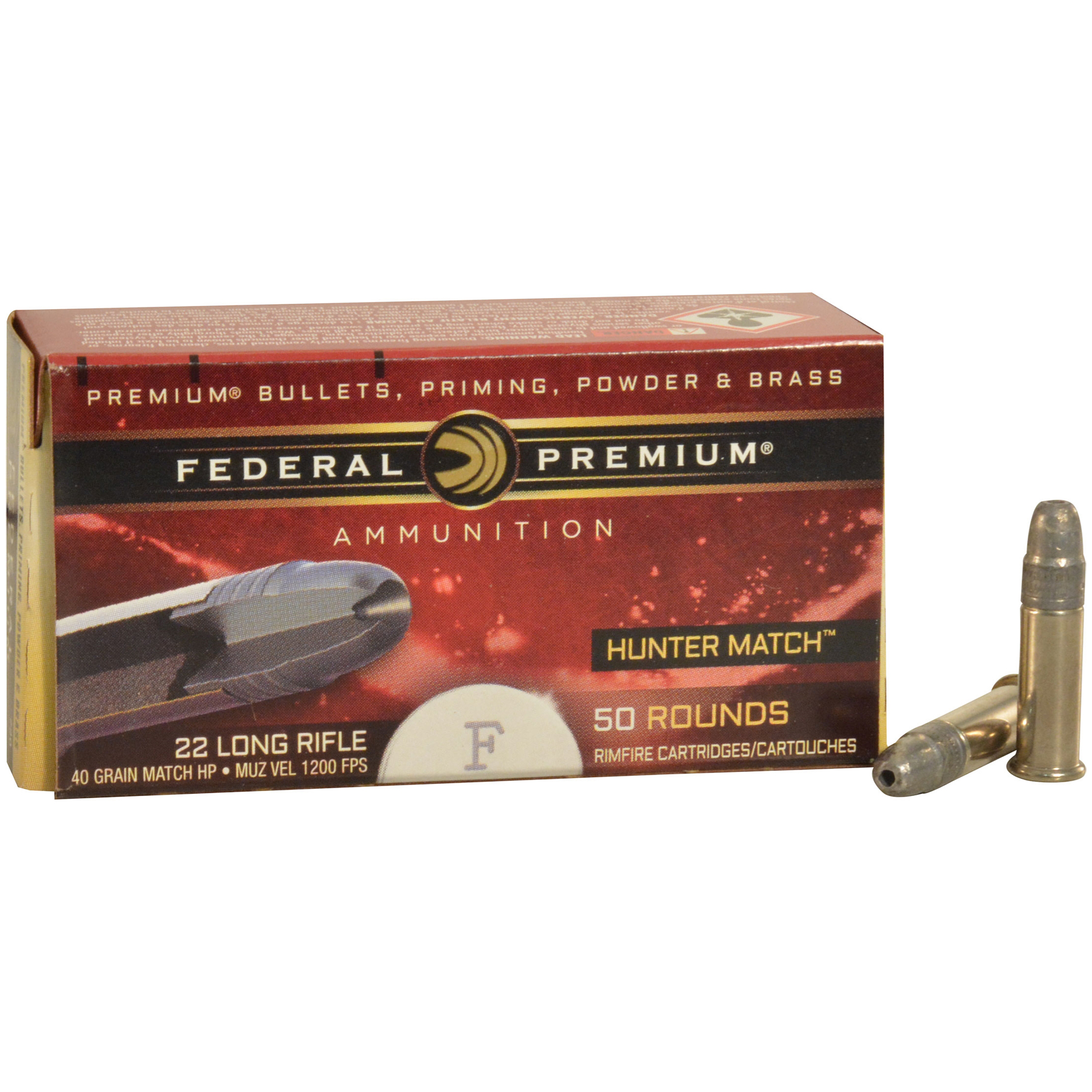 Federal Premium Hunter Match Rimfire Ammunition, .22 LR, 40-gr, HP