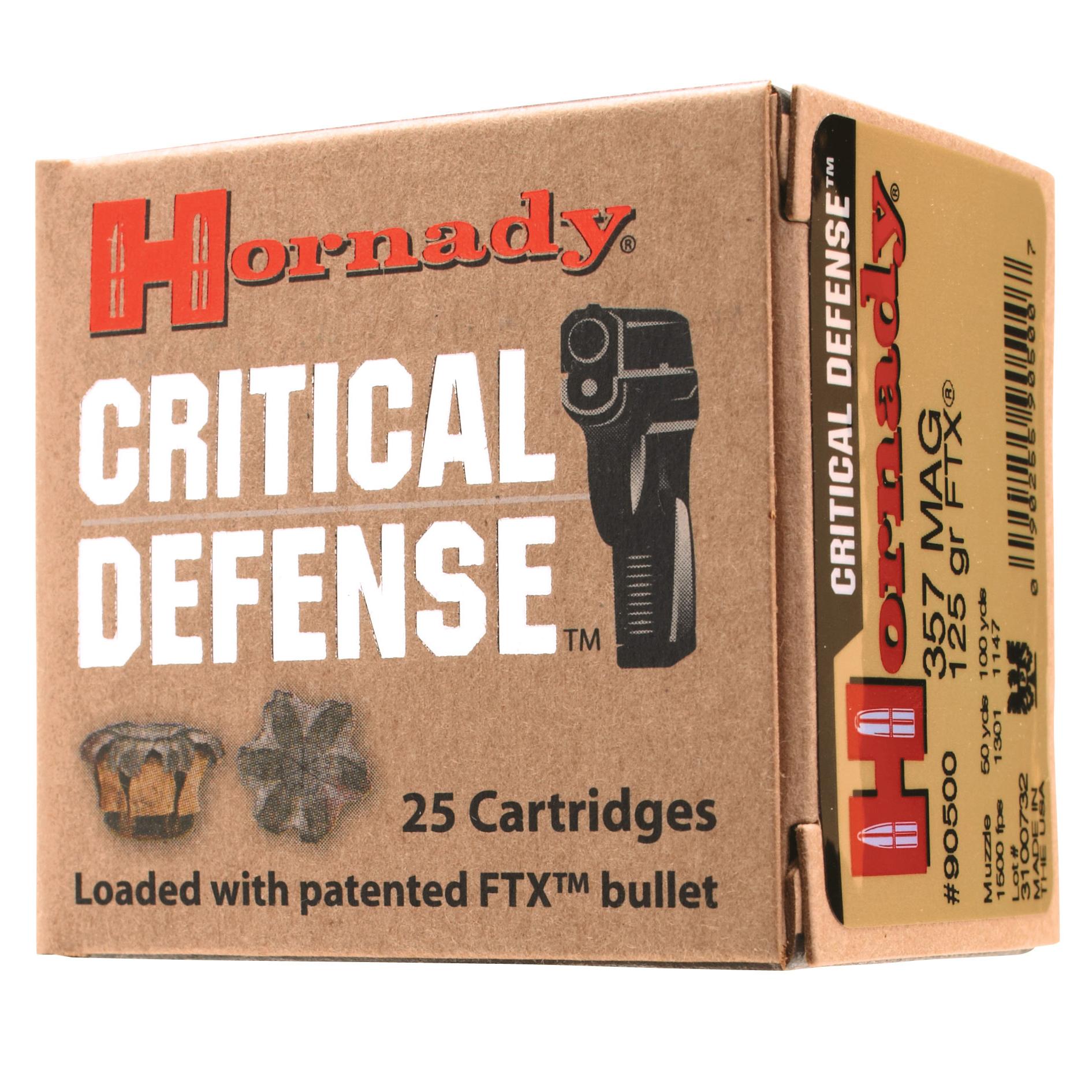 Hornady Critical Defense Handgun Ammo, .38 Spcl +P, 110-gr, FTX, 25 Rounds
