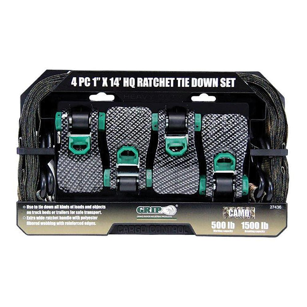 HQ Camo 14'L x 1″W Ratchet Tie Downs, 4-Pack