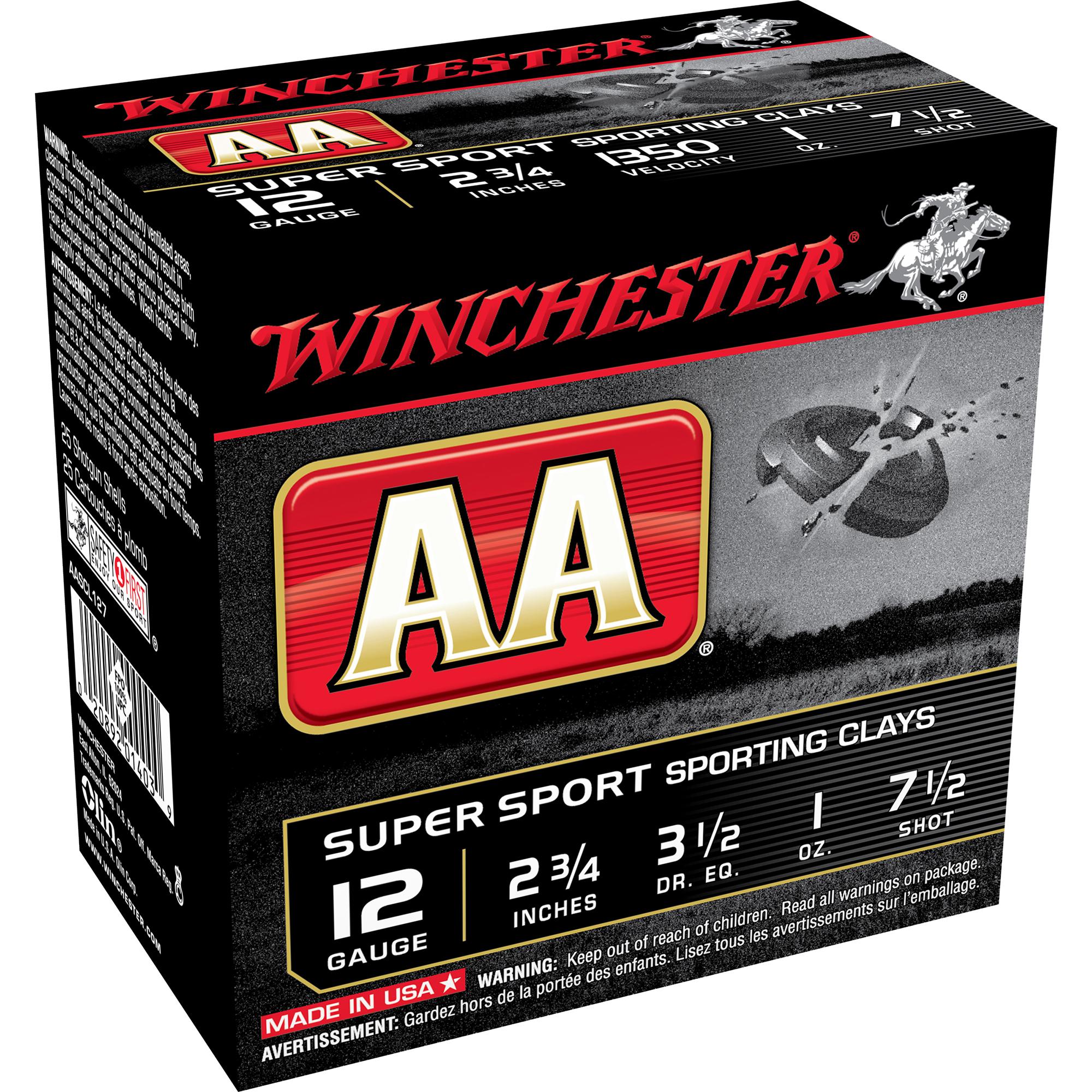 Winchester AA Super Sport Target Loads, 12-ga, 2-3/4″, 1 oz, #7.5, 8