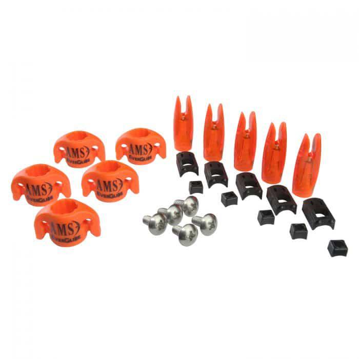 AMS Bowfishing Everglide Safety Slide Kit for 5/16″ Arrows, Orange, 5-Pack