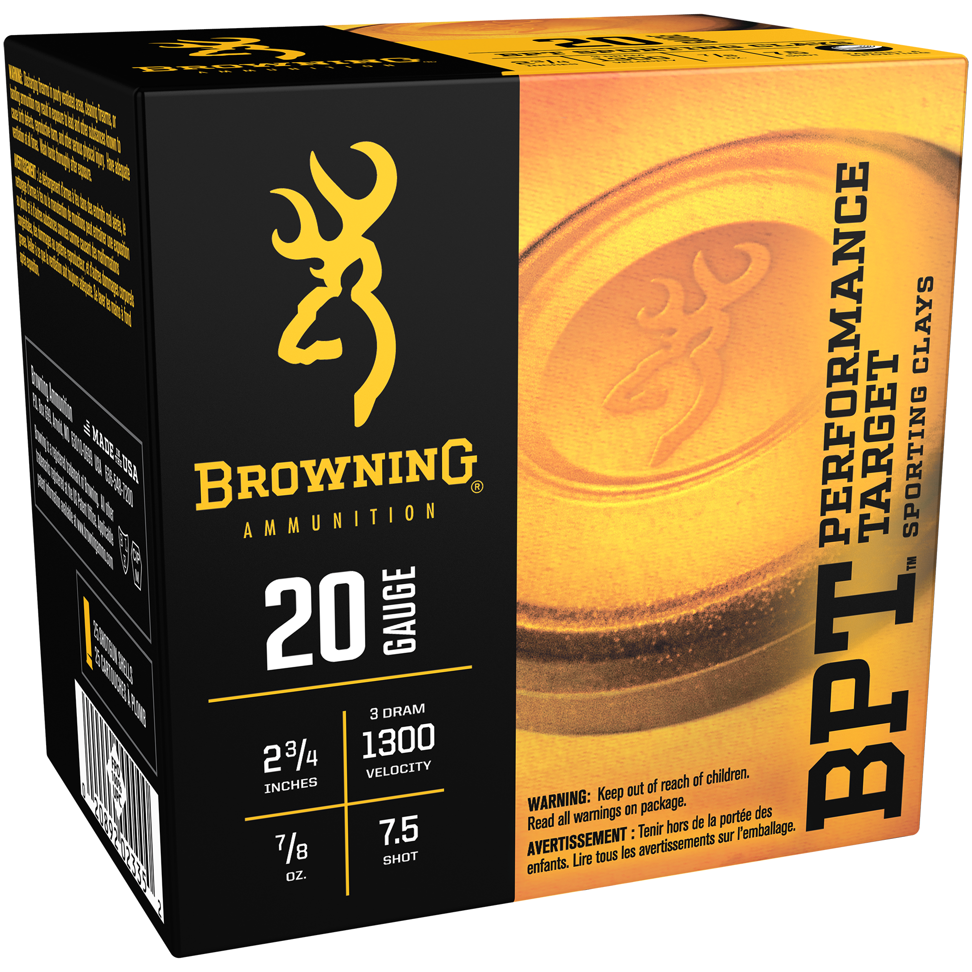 Browning BPT Performance Target Shotshell Loads, 20-ga, 2-3/4″, 7/8-oz, #7.5