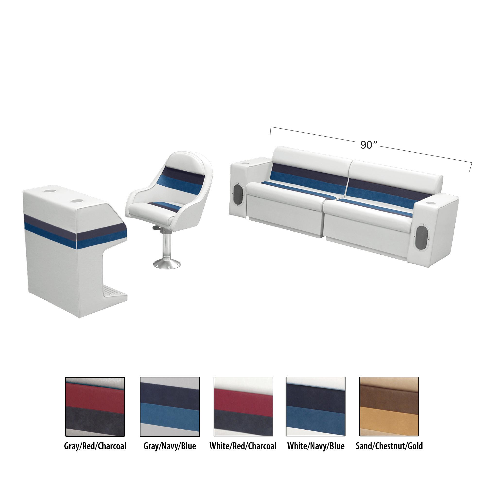 Deluxe Pontoon Furniture w/Toe Kick Base - Rear Basic Package, White/Navy/Blue