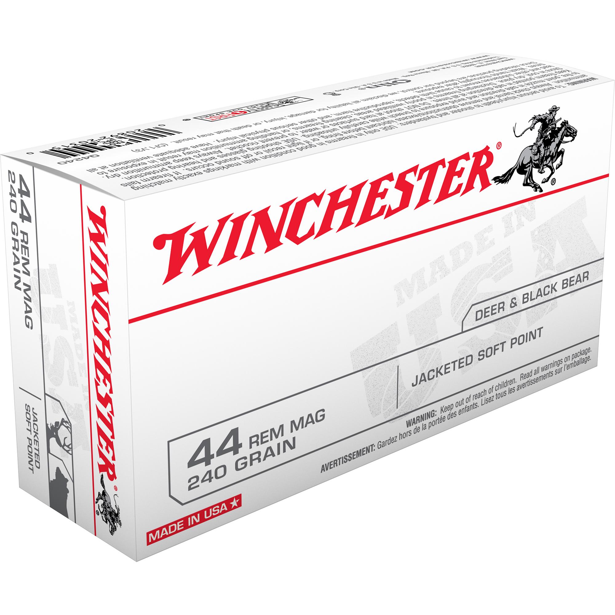 Winchester USA Handgun Ammo, .44 Rem Mag, 240-gr., JSP