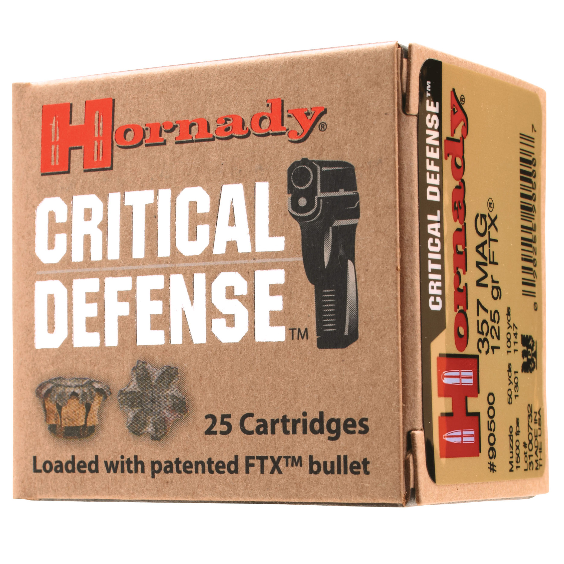 Hornady Critical Defense Handgun Ammo, .38 Special, 110-gr, FTX, 25 Rounds