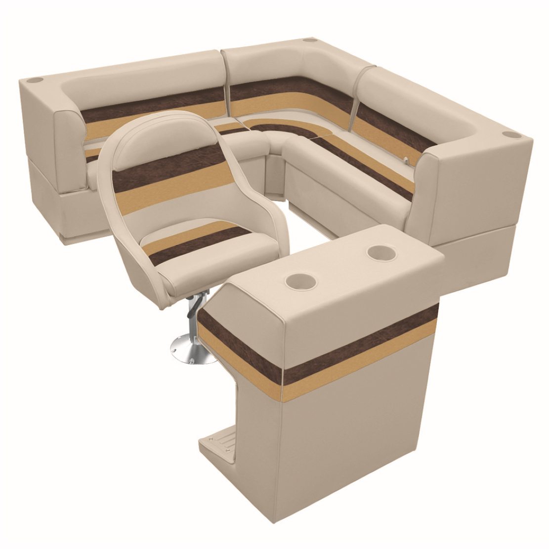 Deluxe Pontoon Furniture w/Toe Kick Base - Rear Group 4 Package, Sand/Chest/Gold