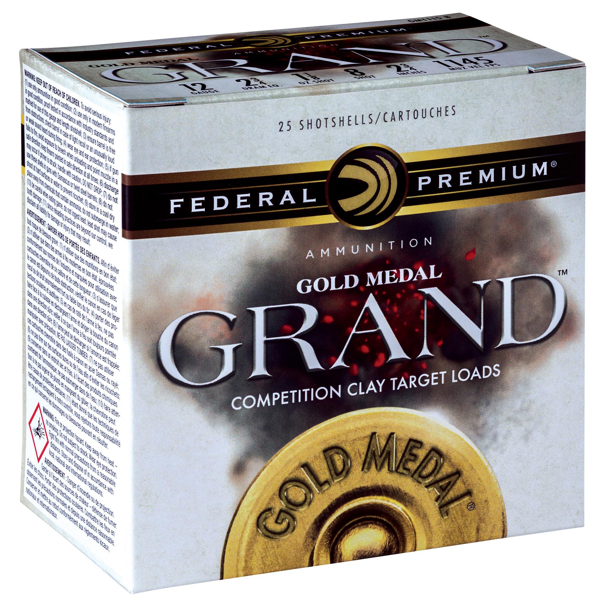 Federal Premium Gold Medal Grand Shotgun Ammo, 12-ga, 2-3/4″, 1-1/8 oz, 7.5
